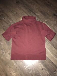 Womens Athleta Burgundy Cotton Pullover Playful Top Size XS
