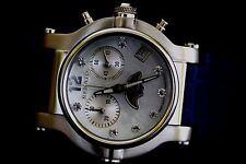 Renato Women's Beauty Limited Swiss Quartz Chrono Moon Phase Blue Leather Watch