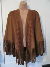 HOLLISTER FAUX SUEDE FRINGED PONCHO KIMONO SLEEVES NWTS SIZE XS S VEGAN