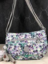 Kipling Syro Spanish Bloom Floral Purple Green Shoulder or Crossbody Bag