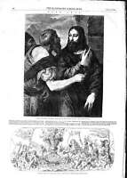 Old Antique Print 1852 Florentine Etching British Museum Titian Art Men 19th