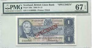 SCOTLAND P.169s 1968-70 1 POUND BRITISH LINEN BANK SPECIMEN PMG 67EPQ TOP GRADE!