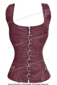 Heavy Duty 24 Double Steel Boned Waist Training Leather Overbust Corset #1215-LE