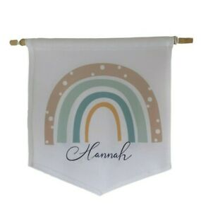 Personalised rainbow ~ white hanging/pennant/flag/wall hanging nursery