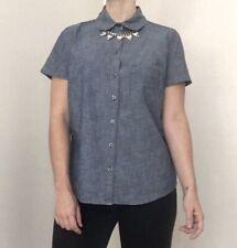 49cad3ccc9 Ann Taylor Loft Para mujeres Mangas Cortas Camisa De Mezclilla Con Lunares  Verde Talla S nuevo con etiquetas