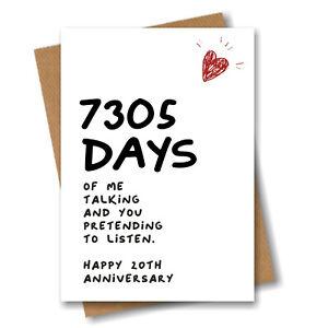 20th Anniversary Card 7305 Days of Talking Him Husband Boyfriend Wedding 20 year