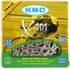 "KMC X101 Silver 1/2"" x 1/8"" 112L Track Fixed Gear BMX Single-Speed Bicycle Chain"