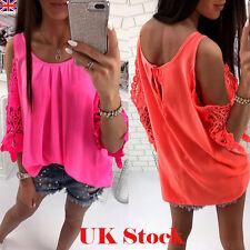 Women Lace Cold Shoulder Floral Chiffon T-Shirt Ladies Summer Loose Tops Blouse