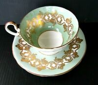 Aynsley Mint Green Gold Scrolls Teacup and Saucer Set Vintage Tea Cup
