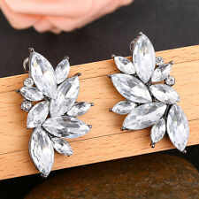 Women Pretty White Crystal Flower Ear Studs Drop Dangle Earrings Party Jewelry
