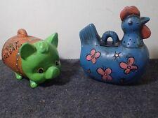 Vintage Lot Plaster Blue Chicken Still Coin Bank & Ceramic Piggy Barrel Bank