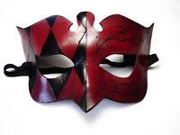 Columbine Red and Black with swirls Mask Handmade Leather Venetian Masquerade