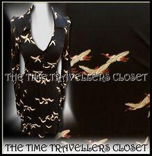 Topshop Kate Moss Black Belted Jersey Bird Stork Fit n Flare Tea Dress UK 8 36