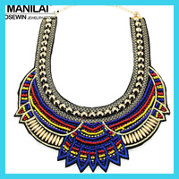 Handmade Ethnic Necklace African Bohemian Multicolor Beads Statement Choker Boho