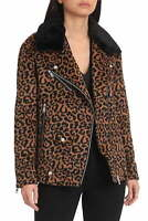Avec Les Filles Women's Jacket Brown Size Small S Motorcycle Leopard $258 #095