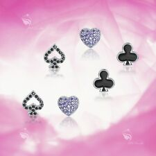 925 Silver Earrings Set Heart Spade Club Stud 3 Pairs Gift Pack Fashion Attitude
