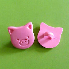 20 Pig Head Farm Novelty clothing sewing Buttons Cardmaking Pink K564