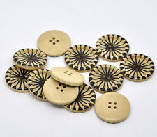 10 Wood Sewing Natural Starburst Buttons 30mm 3cm Good Quality Scrapbook Crafts