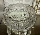Lovely Czech Bohemian Crystal QUEENS LACE Footed Cut Crystal Centerpiece Bowl