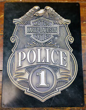 HARLEY DAVIDSON MOTORCYCLES POLICE BADGE WITH EAGLE HEAVY DUTY METAL ADV SIGN