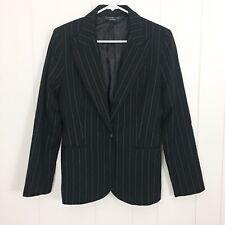 Norma Kamali Womens Black Pinstriped Stretch Blazer Size 10