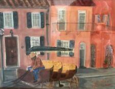 Painting by J. McDermoth 1985 Rainbow Row South Carolina Cityscape