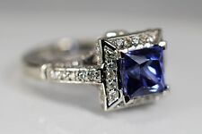 Diamond Tanzanite Halo Ring 14k White Gold 4.25ctw