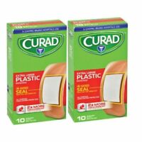 """Curad X-Large Plastic Adhesive Bandages 4 Sided Seal 2"""" x 4"""", 10 Ct. 2 Pack"""