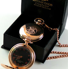 MERCHANT NAVY Pocket Watch and Chain 18k Rose Gold Clad Crest Badge Engraved