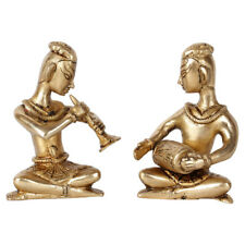 Indian Brass Musician 2 pc Set Inlay Décor Showpiece Corporate Gift Statue 4""