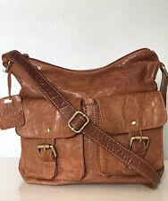 ROWALLAN  Distressed Real Tan Leather Cross-Body Messenger Satchel Shoulder Bag