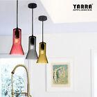 Colorful Glass Cafe Pendant Light Fan-Shape Stylish E27 Smoke Grey Amber Red