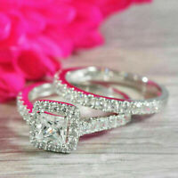 2.5ct Princess Cut Diamond Bridal Set Halo Engagement Ring 14k White Gold Finish