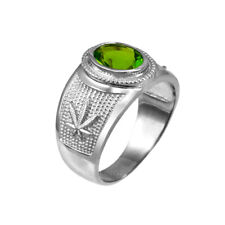 Sterling Silver Marijuana Weed Leaf Band August Birthstone Light Green CZ Ring