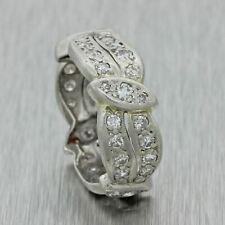 1920s Antique Art Deco Estate Solid Platinum 1ctw Diamond 7mm Band Ring