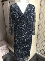 Monsoon Blue Paisley Net Dress Size 14 Bnwt Weddings Party Special Occasions