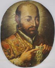 A Spanish Colonial 18th-19th c Oil on Board Portrait of Saint Ignatius of Loyola