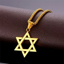 Star of David Pendant Necklace Men Jewelry Gift Chain GOLD PLATED Israel Hebrew