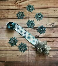 Ribbon and Ornament lot Blue Snowflakes Wreath Making Supplies Home Decor