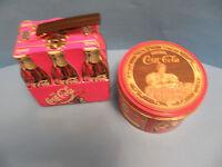 VINTAGE SET OF  COCA-COLA  SNACK TIN AND DRINK COCA-COLA ROUND TIN