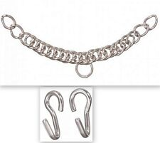 EquiRoyal Stainless Steel English Curb Chain with Hooks Horse Tack