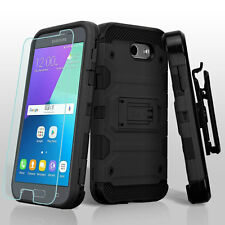 SAMSUNG GALAXY J3 LUNA PRO PRIME FULL BLACK HEAVY DUTY IMPACT CASE HOLSTER COVER