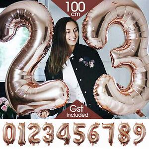 100cm Rose Gold Foil Balloon Number Helium Jumbo Balloons Wedding Party Birthday