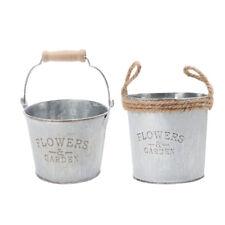 2x Metal Tin Flower Planter Plant Pot Bucket Home Garden Party Floral Decor