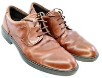 ECCO Oxford Men's EUR Sz 45 US 11-11.5 Brown Leather Plain Toe Derby Dress Shoes