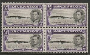 Ascension 1938-53 George VI ½d Black and violet block of four SG 38 Mnh.