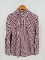 Industrie Mens Check Shirt Size Large Red Black White Button Up Long Sleeve