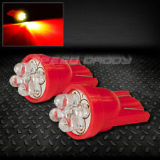 PAIR T10 194 168 501 W5W RED INTERIOR DOME WEDGE LIGHT BULB/BULBS w/ 4 X 3MM LED