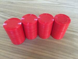 100 Plastic Hoyle Poker Chips - Red