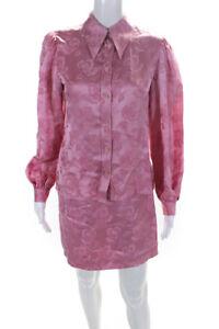 Alexa Chung Womens Floral Mini A Line Skirt Long Sleeve Button Up Shirt 10 Set 2